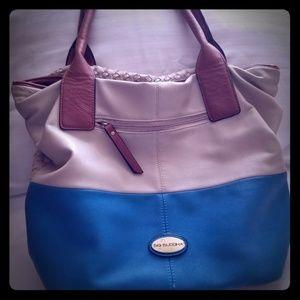 Large leather teal & cream bag